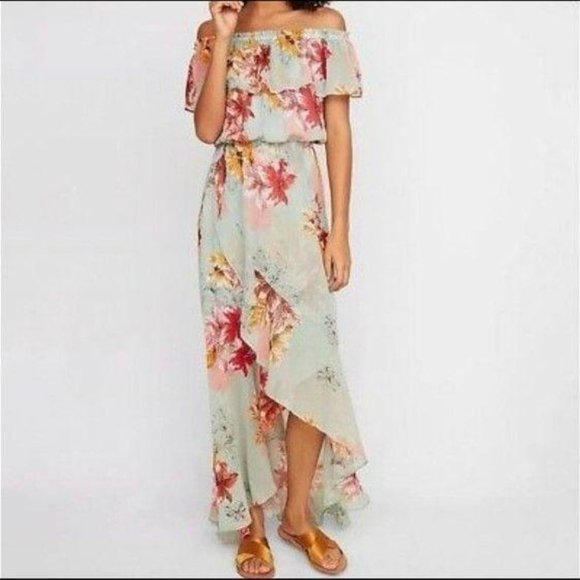 Express Dresses & Skirts - Express Off Shoulder Maxi Dress Floral Mint XS.